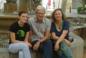 Interviewpartner Dr. Christina Jurcic und Dr. Lennert Koch mit DAAD-Lektorin Kathrin Jahn
